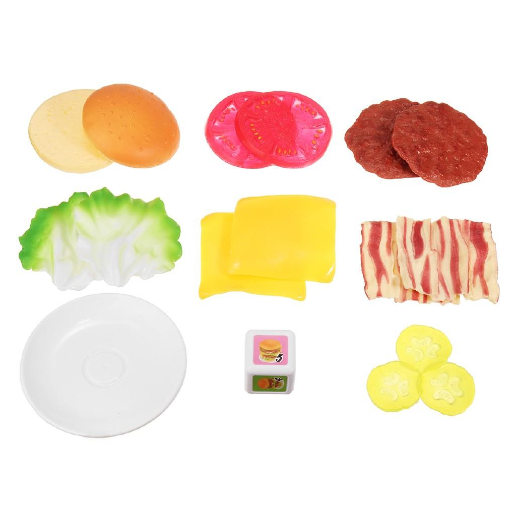 Good!17pcs Piles Up Stacking Hamburger Pretend Play Fun Balance Game Toy Kids