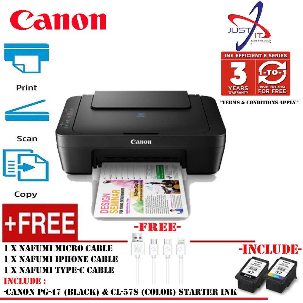 CANON E410 3 IN 1 INKJET PRINTER (FOC 3 TYPE PHONE CHARGING CABLE WORTH  RM39)