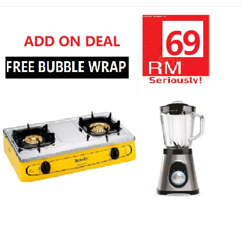 [FREE BUBBLE WRAP] BUTTERFLY STAINLESS STEEL DOUBLE GAS STOVE BGC-923