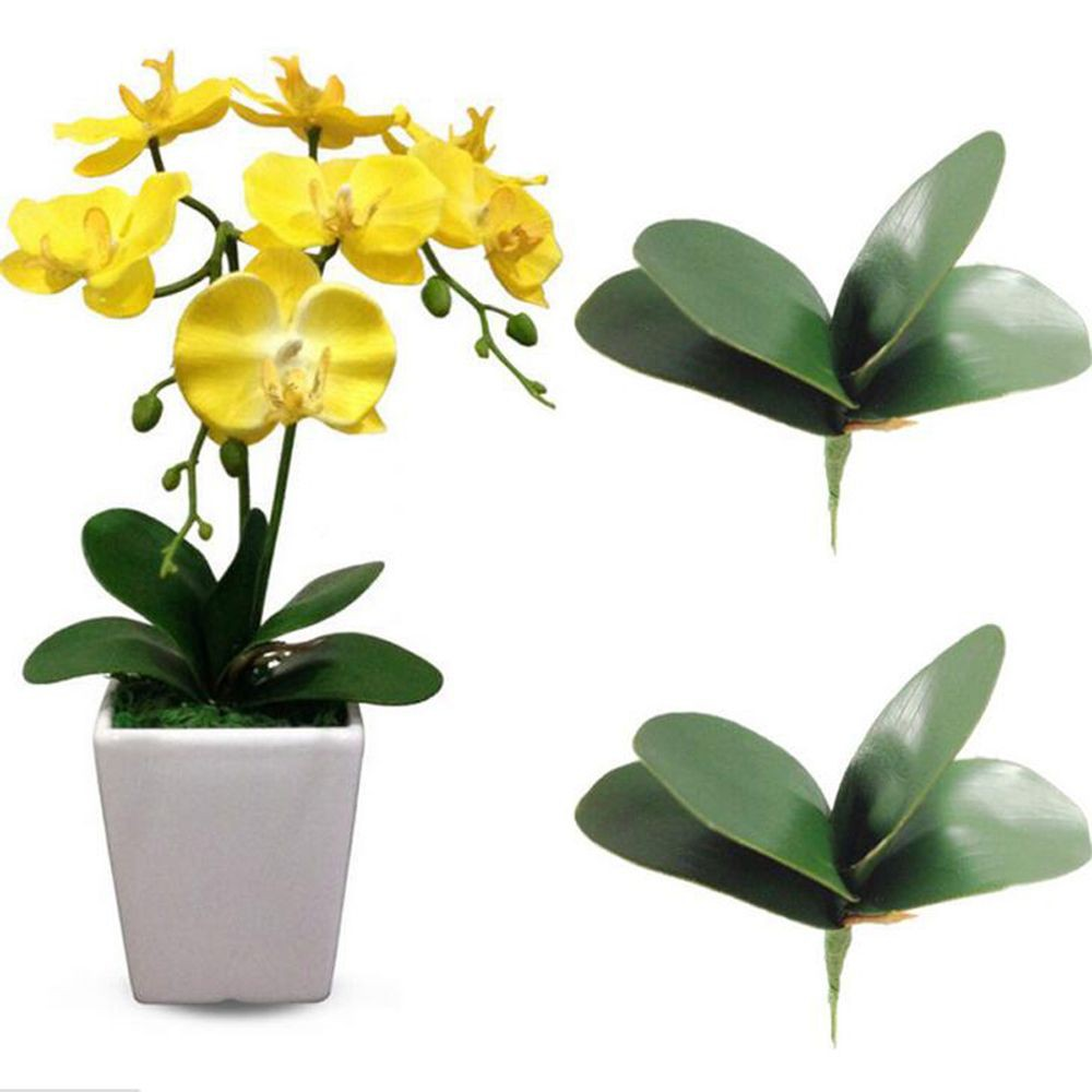 Plastic Decoration Green Leaves Artificial Silk Leaf Butterfly Orchid Leaf