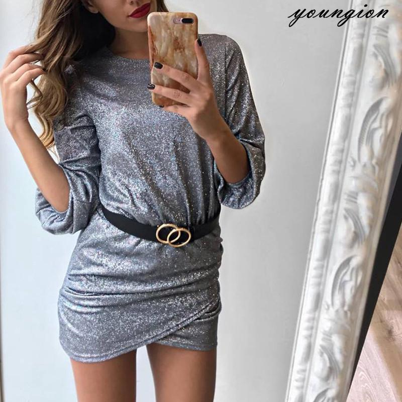 d2d5ad84384a9 Women's Sexy Shiny Tight Party Dress Solid Color Lantern Long Sleeve ...