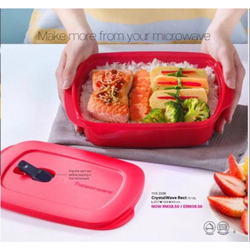 Microwaveable Reheatable Lunch Box Tupperware Square Round Divided Lunch Box 💜 3 compartments 🔥 Ready Stock 🔥