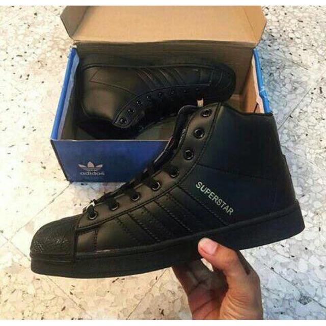 adidas superstar high all black