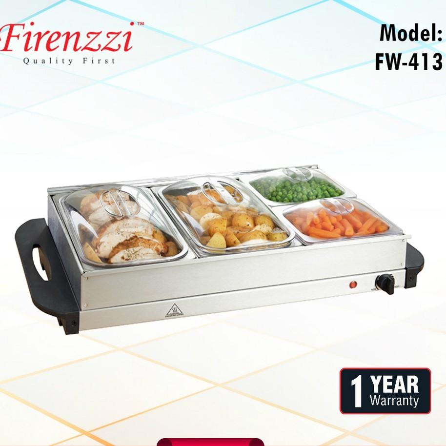 FIRENZZI FW413 7L 300W 4 TRAY 304# STAINLESS STEEL FOOD WARMER / BUFFET SERVER