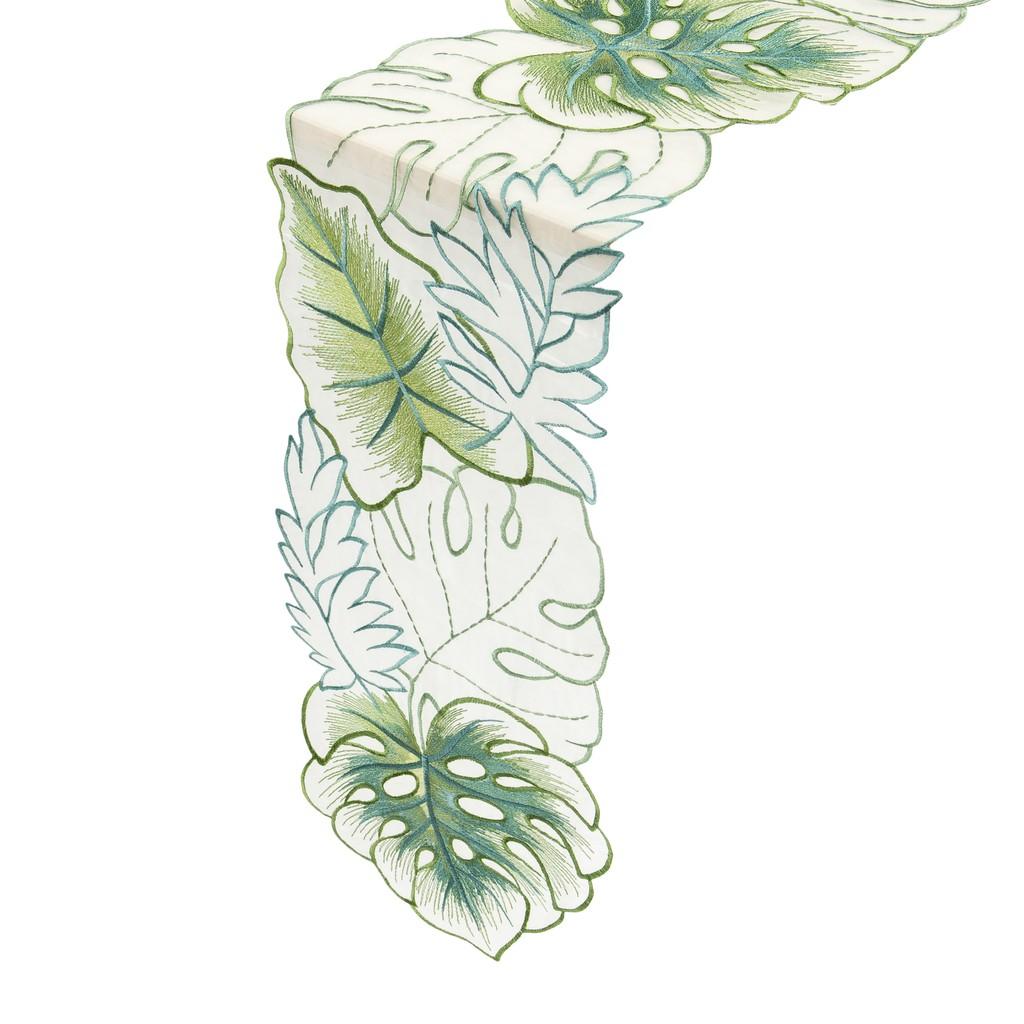 """Tropical Leaf Organza Embroidery Cutwork Table Runner/Dresser Scarf. 20x140cm/8x55"""". (Green)"""