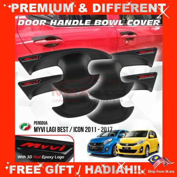 [FREE Gift] PERODUA MYVI LAGI BEST / ICON 2011 - 2017 Matt Black Door Handle Inner Bowl Protector Cover Trim (4pcs/Set)