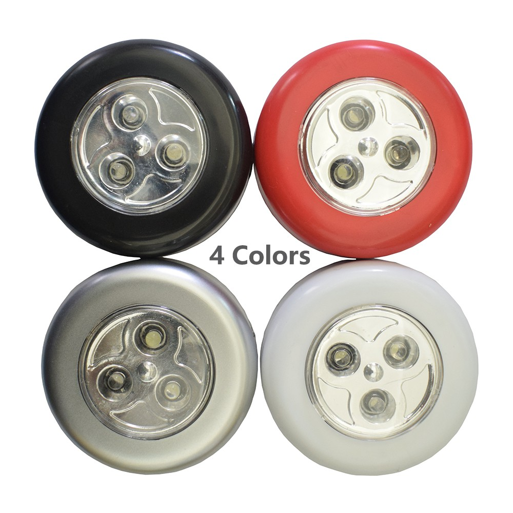 4 Colors 3 LED Closet Under Cabinet Lamp Wireless Touch Switch Car Pat Light