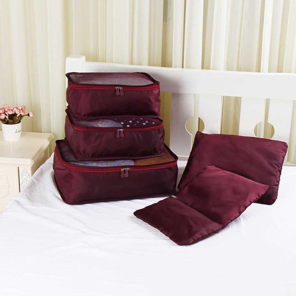 6pcs/set Lightweight Luggage Compression Packing Cubes Organizer
