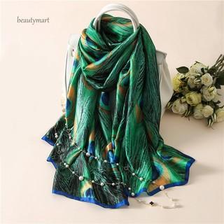 42c83ef6f5cff Fashion Peacock Feather Scarves Women Silk Cover Up Scarf Beach Travel Shawl  | Shopee Malaysia