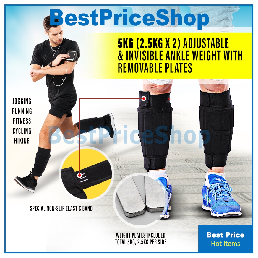 Adjustable Ankle Weights 2 x 5kg Removable Weighted Wrist Running Set
