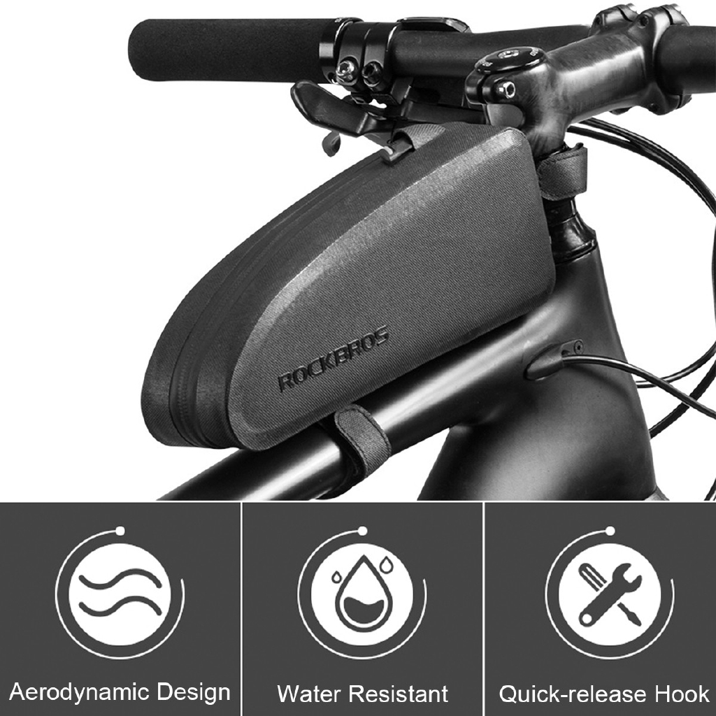 ROCKBROS Waterproof Large Capacity Bike Bag Cycling Top Tube Frame Bag Black M