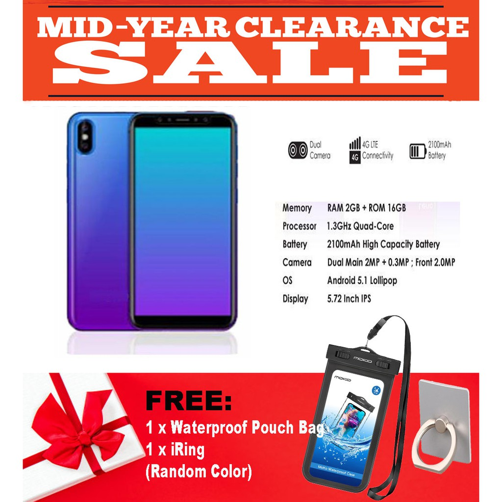 MID YEAR CLEARANCE SALES!! OPPO F1A 4G Smartphone Dual Camera (2GB RAM +  16GB ROM) FREE iRing & Waterproof Pouch Bag