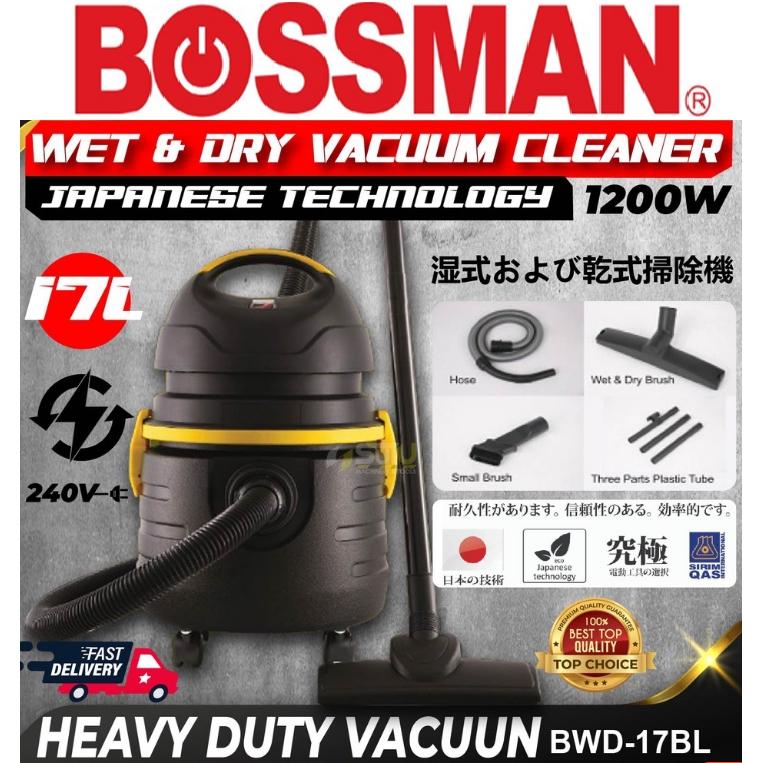 BOSSMAN BWD-17BL WET & DRY VACUUM CLEANER 17LITER 1200WATT  EASY USE SAFEY