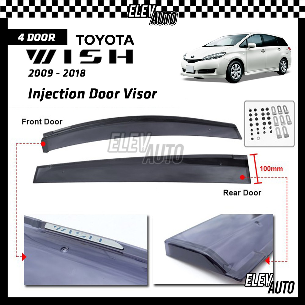 Toyota Wish 2009-2018 PREMIUM Injection Door Visor with Clips and Brackets