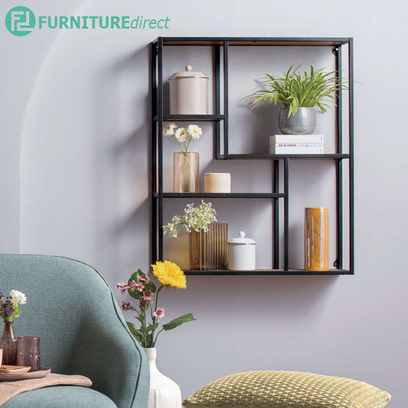 Ruthin Wall Bookshelf with Oak colour shelf/ display rack/ bookcase/ book shelf/ rak buku