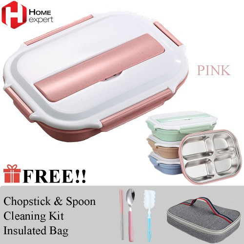 Lock & Lock HPL758DG Lunch Box 3P Set with Gray Bag and Fork & Spoon | Shopee Malaysia