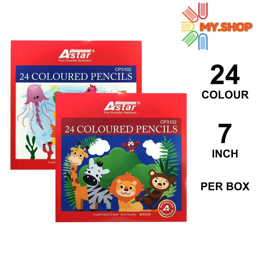 "Astar Colour Pencil 24 Colour 7"" Long CP3102"