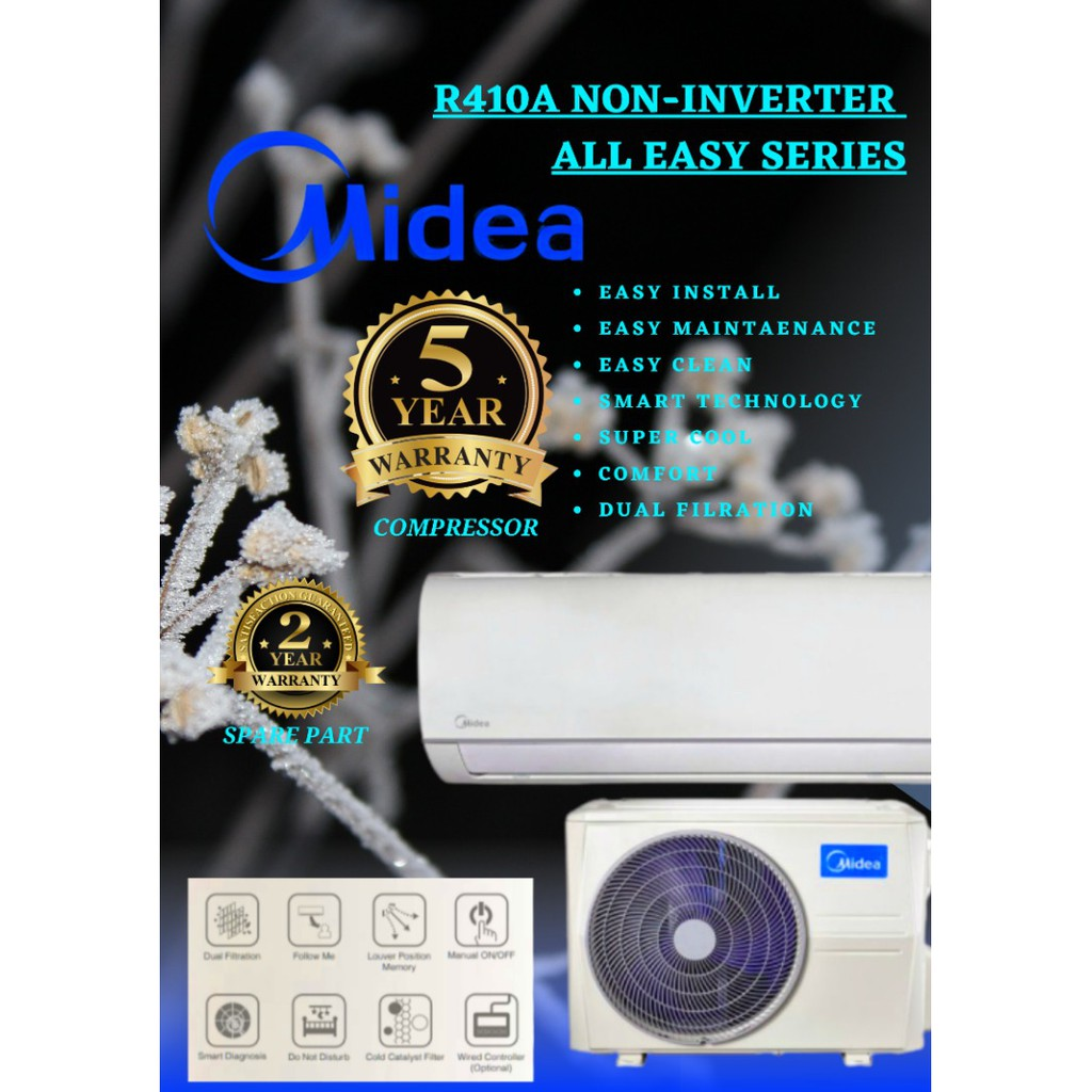 MIDEA 1.0HP NON INVERTER 10,000 BTU AIR CONDITIONER AIRCOND MSAE-10CRN1 R410A