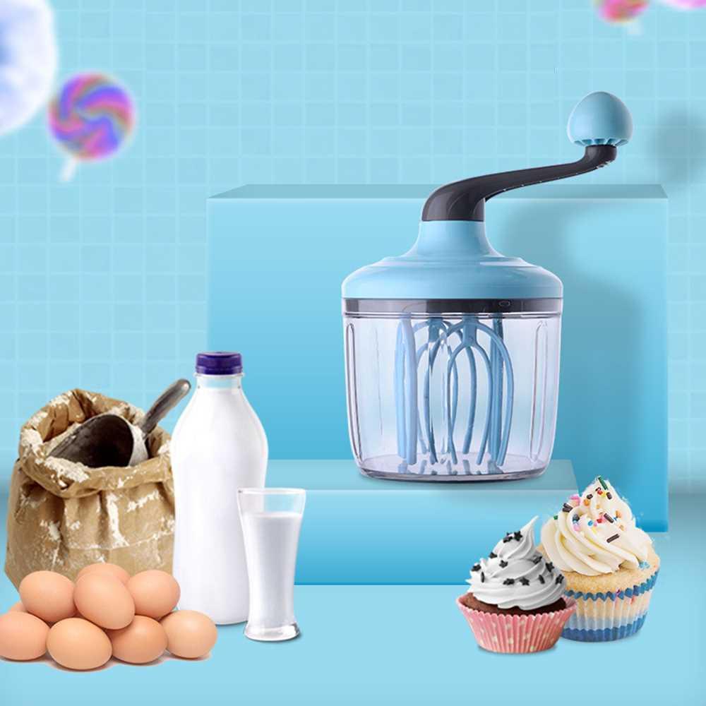 Manual Household Egg Beater Whisk Hand Stirring Cream Butter Mixer (Light Sky Blue)