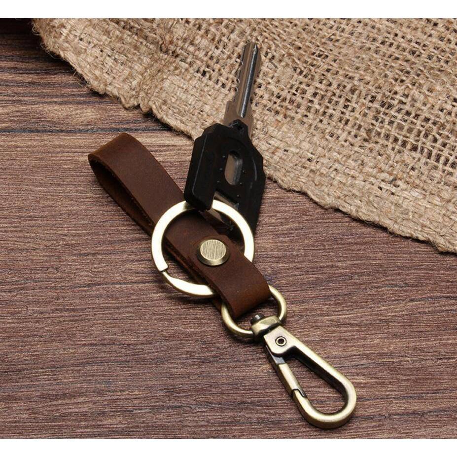 Detachable Leather Belt Loop Key Holder Ring Keychain Keyring Keyfob