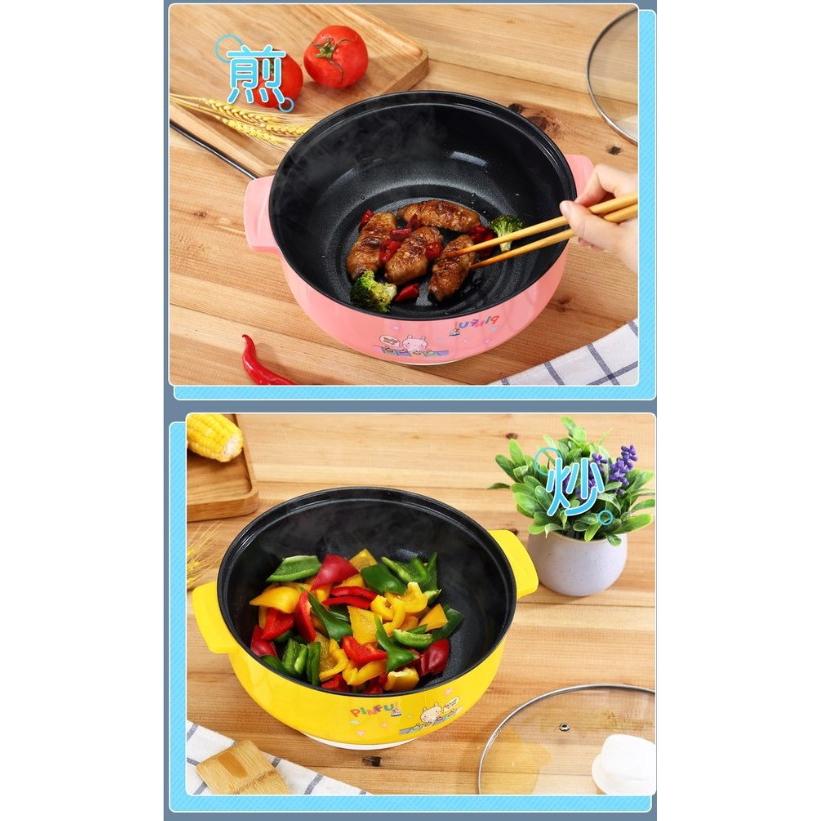 ⚡New⚡Periuk Elektrik Ceramic coated Multi-functional Electric Cooker Steamer Cooker 22cm(Malaysia Plug)