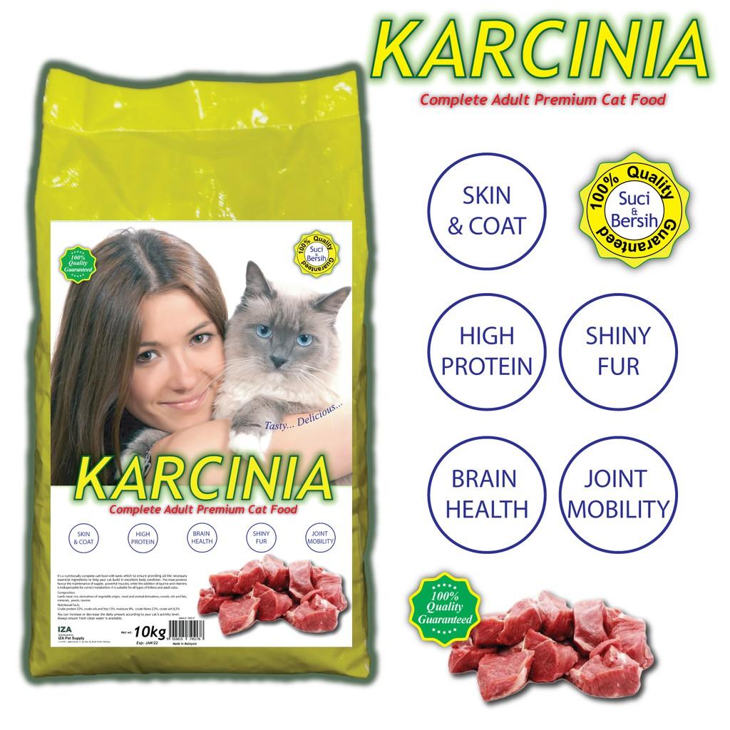 KARCINIA Premium Cat Food 10kg - Protein 32%, Fat 13% | KARCINIA Premium Makanan Kucing 10kg