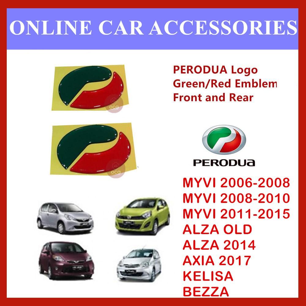 Perodua Emblem Logo Red/Green Colour 2PCS (Front and Rear Sticker)