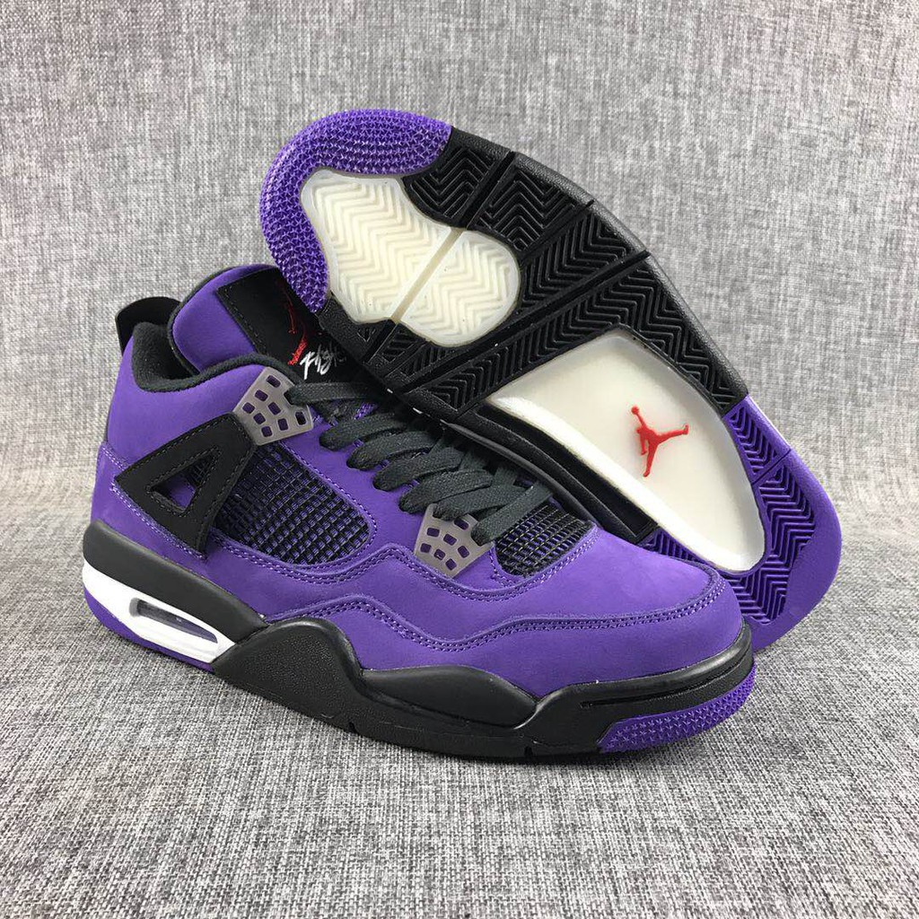 pretty nice fa6b5 e0202 Travis Scott x AIR JORDAN 4 RETRO basketball shoes purple