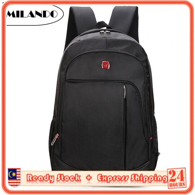 2832f86dcb6a MILANDO Trendy Stylist Laptop Backpack Travel School Bag Black Series Beg  Bagpack