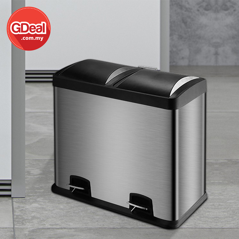 GDeal 30L Large Capacity Double Bin Trash Can Dual Pedal Stainless Steel Dustbin Tong Sampah توڠ سمڤه
