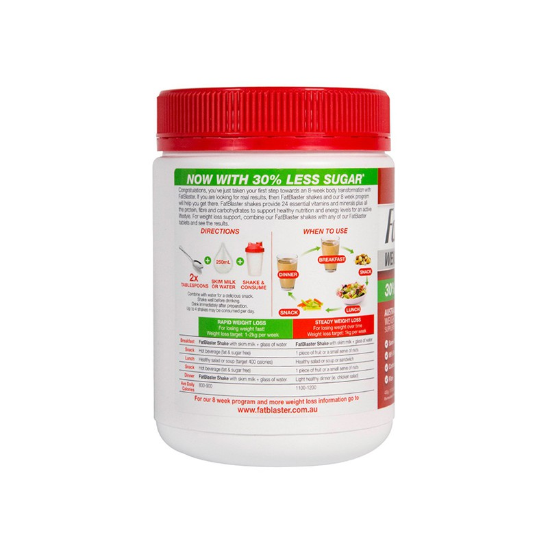 Fatblaster Weight Loss Shake Double Choc Mocha 30 Less Sugar 430g