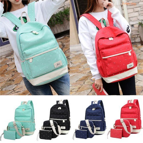 FR◕◕ Women Girls Canvas Backpack Travel School Casual 3Pcs