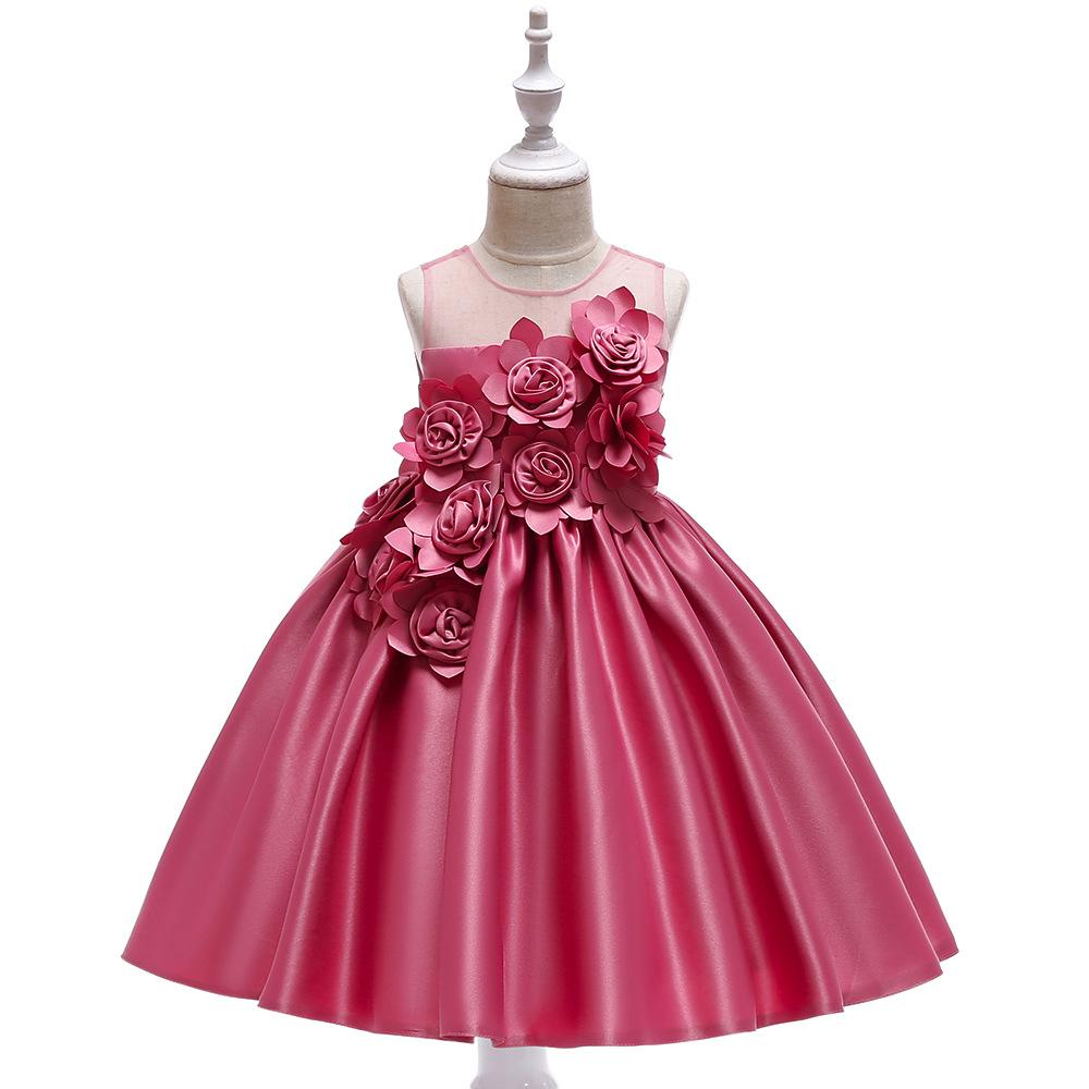 2b8610e6b4eed 2019 New Girl Embroidered Sleeveless Clothes Floral Tutu Wedding Princess  Dress Birthday Gift Dress Formal Pageant Dress