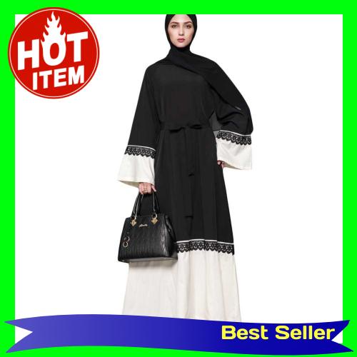 Women Muslim Maxi Dress Contrast Flare Sleeve Abaya Kaftan Islamic Arab Robe Belted Long Dress Black (Black)