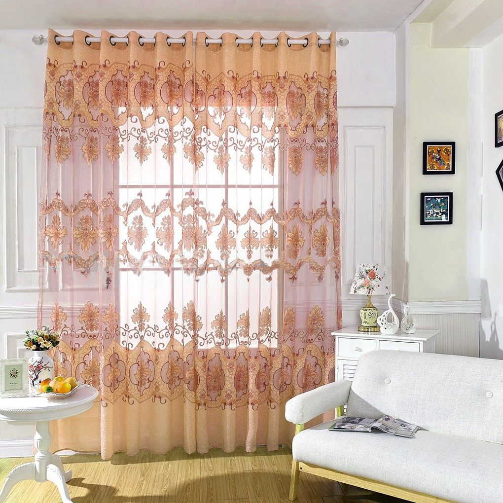 Floral Print Rustic Curtain Tulle Sheer Curtain Door Window Living Room  Curtain fine