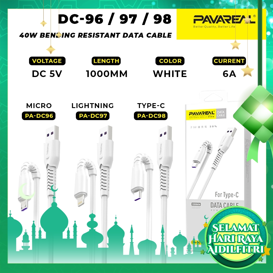 PAVAREAL PA-DC96/97/98 6A Super Fast Charging Micro USB / Type C / Lightning Cable (1 Meter)