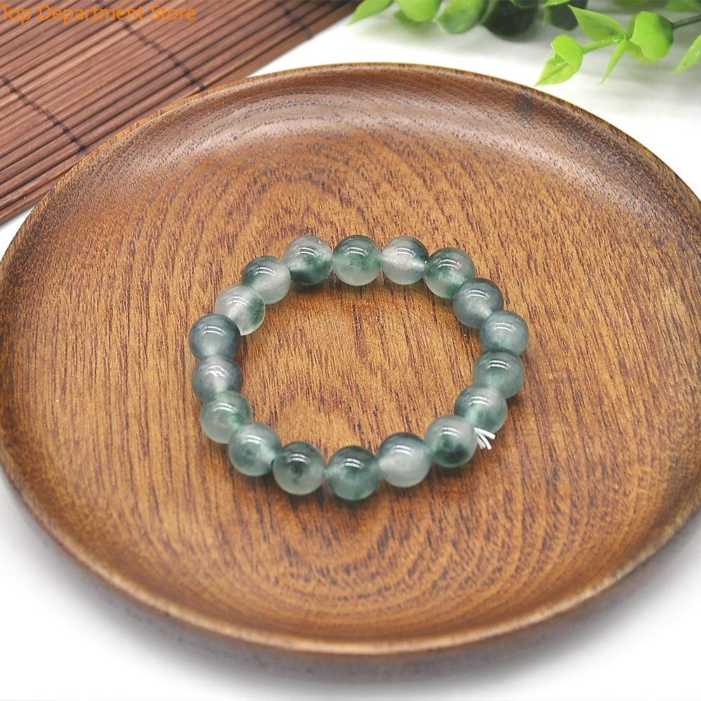 12mm 100/% Natural A Grade Green Jade Jadeite Round Beaded Bangle Bracelet