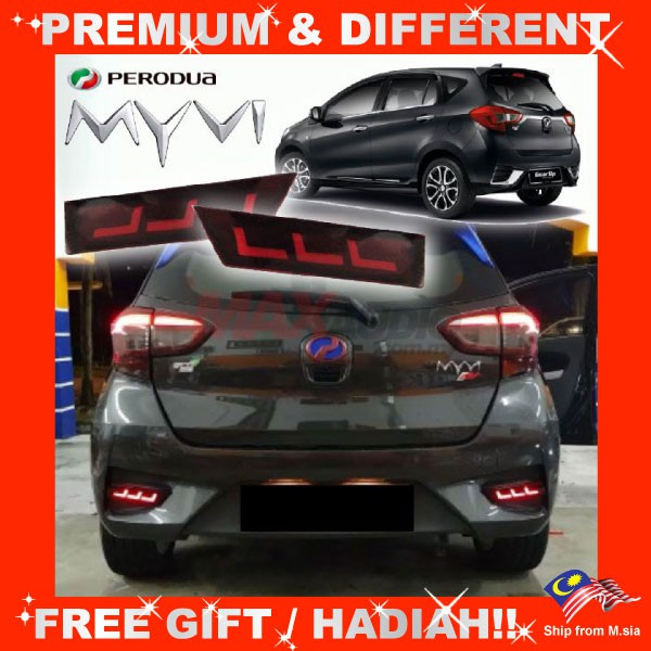 [FREE Gift] PERODUA MYVI 2018 - 2021 NIGHT SPORTIVE SEQUENTIAL BUMPER REFLECT LED LIGHT (PAIR)