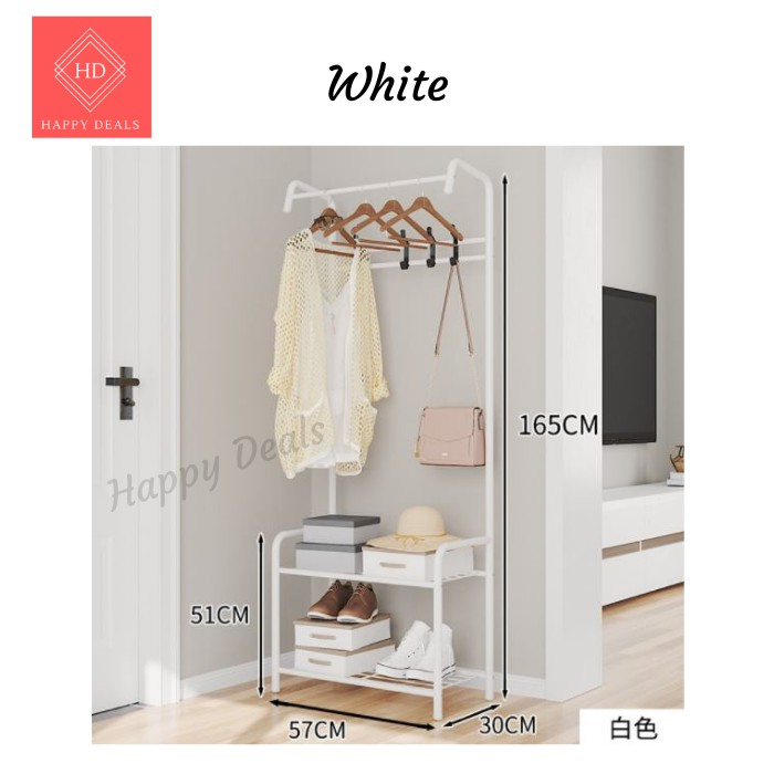 Beautiful Garment Rack with 2 hanging sections Metal Folding L Shape Clothing Hanger Strong Steel Structure Laundry Rack
