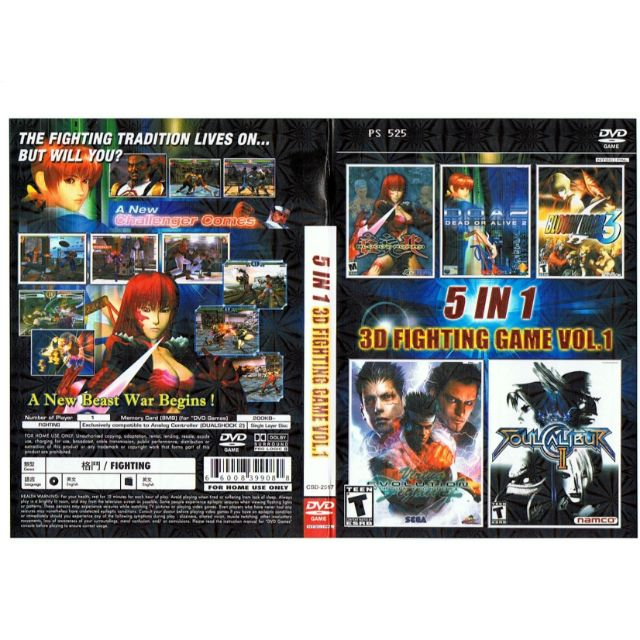 PS2 Games CD Collection 5 In 1 3D Fighting Games Vol:1