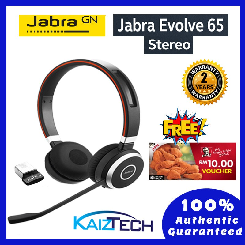 Jabra Evolve 65 Ms Stereo Mono Wireless Bluetooth Headset Includes Link 360 Shopee Malaysia