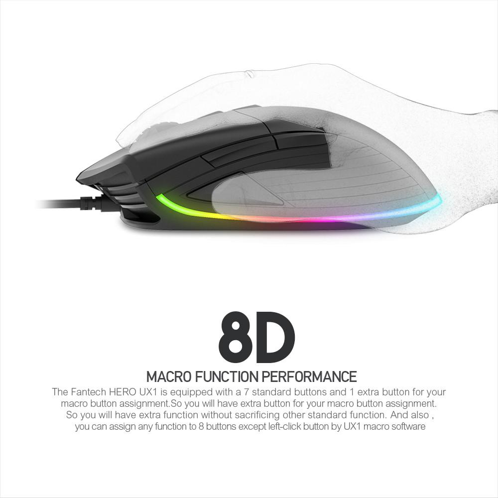 💯 FANTECH UX1 HERO ULTIMATE MACRO RGB GAMING MOUSE (FREE