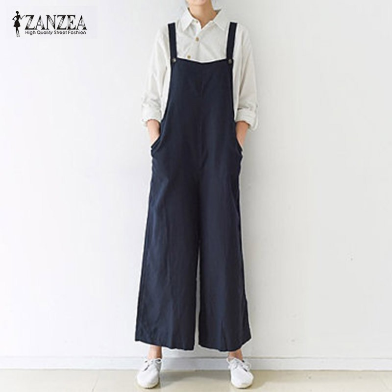 17b5008f352    Women Dungaree Ruffled Long Overalls Pants Trousers Jumpsuits ...