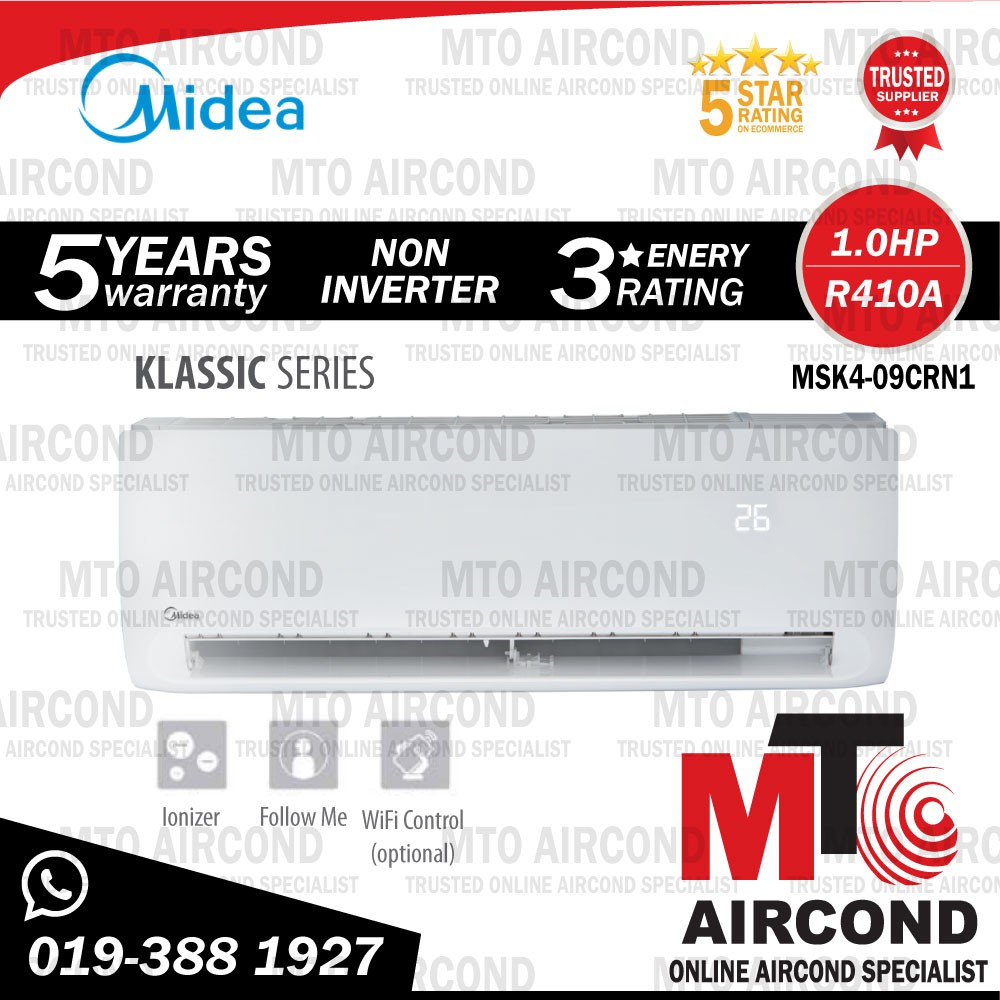 [ MTO ] MIDEA R410A 1.0HP NON INVERTER AIR CONDITIONER KLASSIC SERIES AIRCOND MSK4-09CRN1