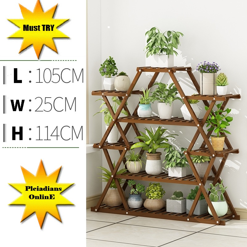 [ READY STOCK ]  Wood 6 Tiers Foldable Bamboo Plant Stand Plant Book Toy Garden Flower Furniture Bunga Perabut Storage