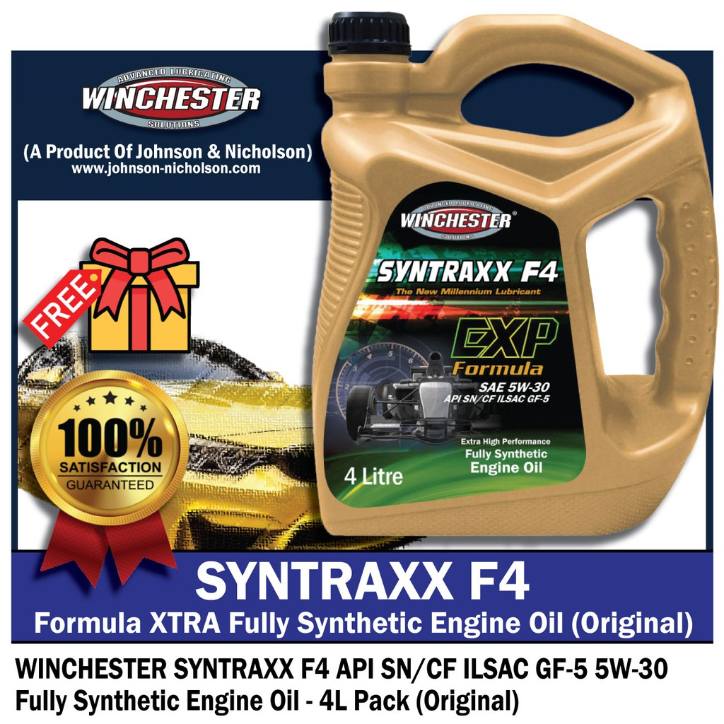 Winchester Syntraxx F4 5w30 4L Fully Synthetic SN Engine Oil Car Lubricant