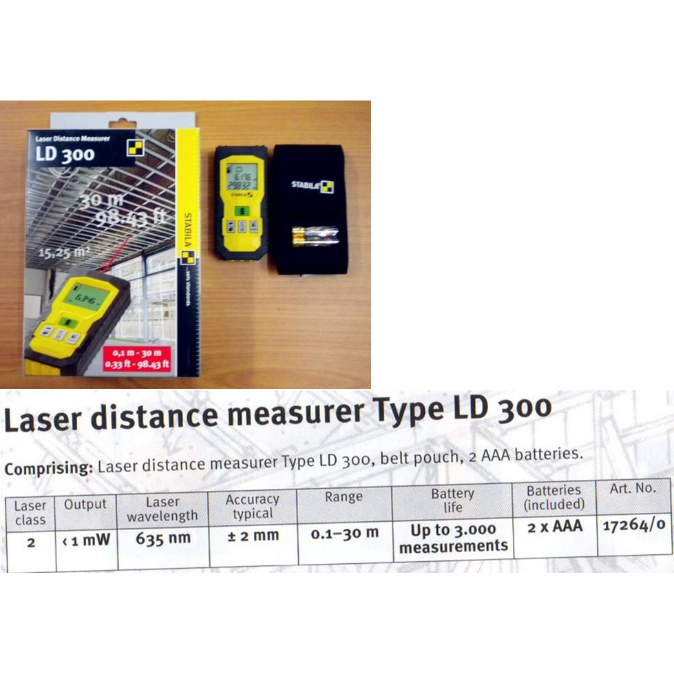 30M LD300 STABILA LASER DISTANCE MEASURER MEASUREMENT MEASURING