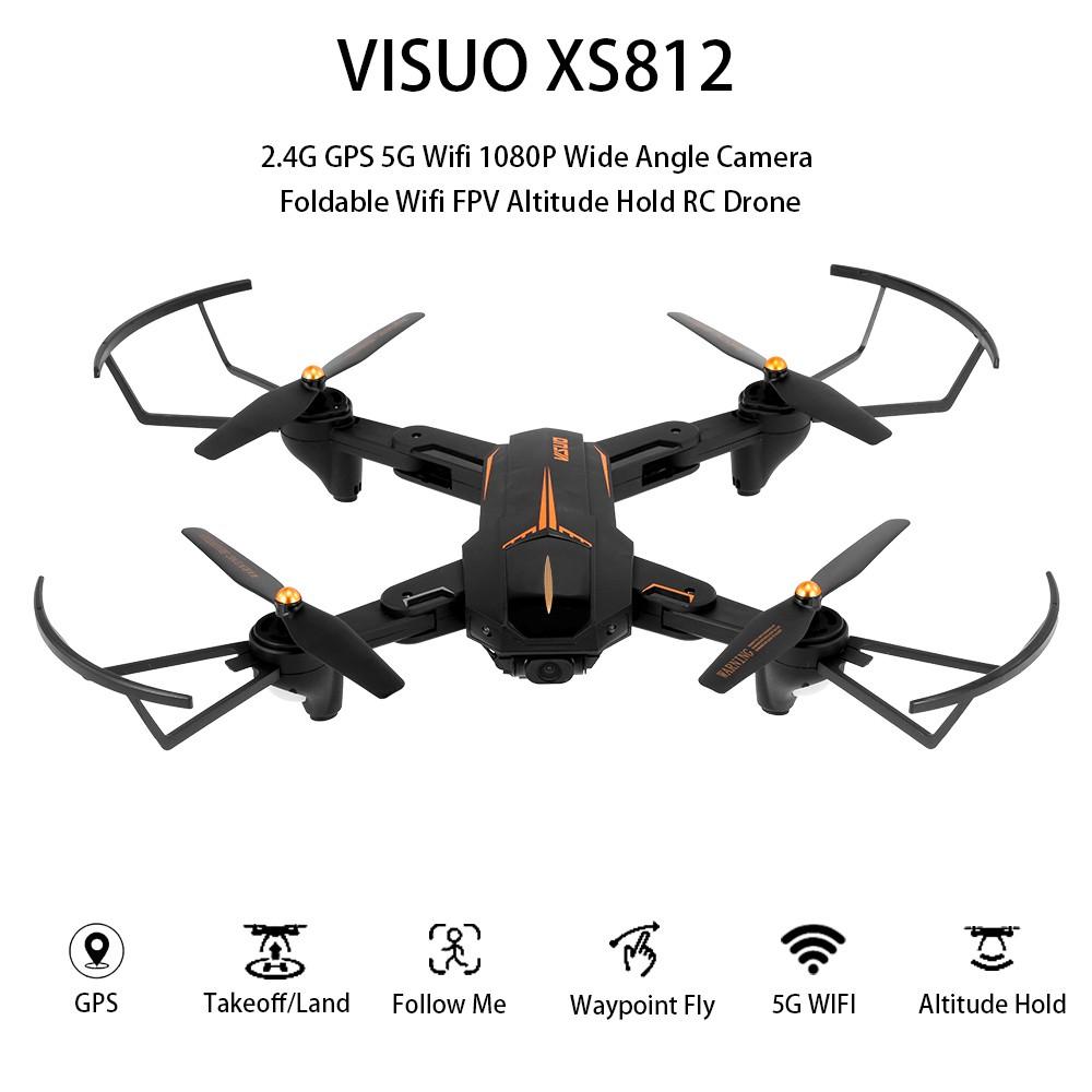 VISUO XS812 2.4G GPS 5G Wifi 1080P Wide Angle Camera Foldable Wifi FPV Altitude