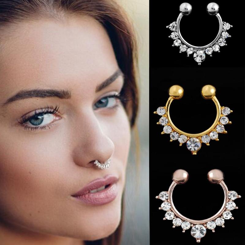 3pcs Crystal Hoop Fake Nose Ring Women Jewelry Rose Gold Silver