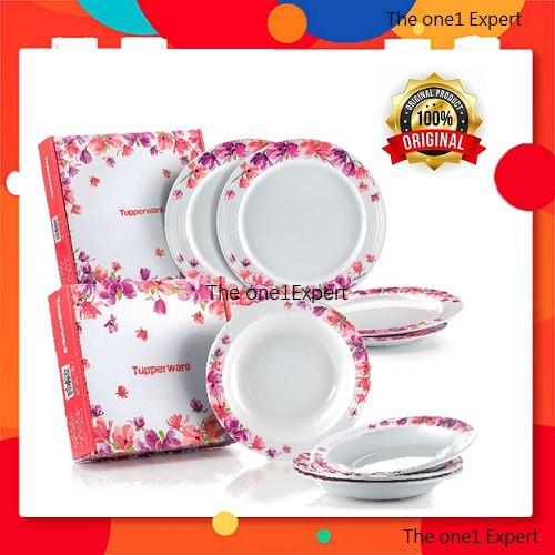 *Tupperware Garden Bloom Melamine Set* 👉Melamine Plate (4) 👉Melamine Bowls (4) Collection